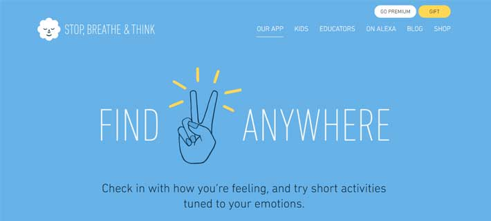 stop, breathe, think, meditation app